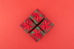 Four red gift Royalty Free Stock Photos