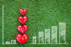 Four red hearts on green grass field love concept. Four red hearts on green grass field texture background love concept.jpg Royalty Free Stock Image