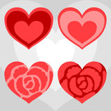 Four red hearts Stock Photos