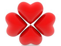 Four red hearts on white. In backgrounds Stock Images