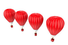 Four red hot air balloons isolated on white Stock Photography