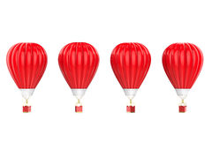 Four red hot air balloons isolated on white. 3d rendering four red hot air balloons isolated on white Royalty Free Stock Photo