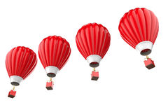 Four red hot air balloons isolated on white Stock Images