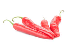 Four red hot peppers chile Royalty Free Stock Photography