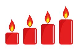 Four red lighted advent candle white background stock illustration