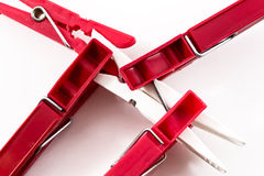 Four Red Pegs Biting White Peg Stock Image