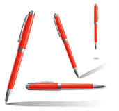 Four red pens Royalty Free Stock Images