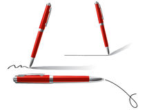 Four red pens Stock Photo