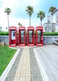 Four Red Phone Booths Royalty Free Stock Image