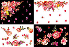 Four red rose decorations Royalty Free Stock Photos