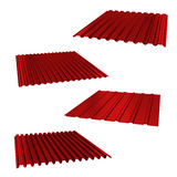 Four red sheets of stainless steel on a white. 3d Stock Images
