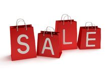 Four red shopping bags with inscription sale - 3d Stock Photo