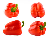 Four red sweet peppers set. Different sides Stock Image