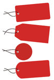 Four red tags with black string. (vector Stock Photos