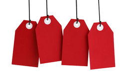 Four Red Tags Royalty Free Stock Photos