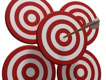 Four red target with arrow Stock Image