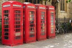 Four red telephone boxes. In Cambridge, UK Royalty Free Stock Photography