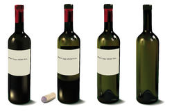 Four red wine bottles. Vector. Royalty Free Stock Image