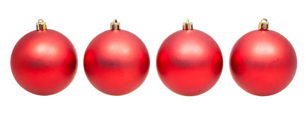 Four red xmas balls isolated on white background Stock Photo