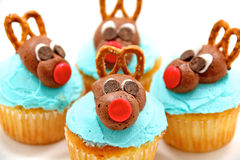 Four reindeer cupcakes Royalty Free Stock Photo