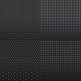 Four repeat seamless carbon patterns Royalty Free Stock Photo