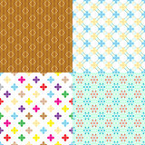 Four retro abstract seamless simple patterns Stock Photos
