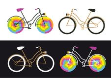 Four retro bikes icons on white and black background, simple and funny colorful bike. Vector illustrations Stock Photos