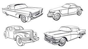 Four retro car silhouette Stock Photo