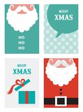Four retro cards for Christmas in hipster style royalty free stock photography