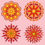 Four Retro Flowers Design Elements. A set of four retro style geometric flowers Stock Photo