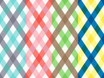 Four rhombus seamless patterns with motley stripes Stock Photography