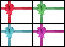 Four ribbon bow over white background Royalty Free Stock Images