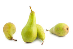 Four ripe green pears Stock Photography