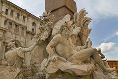 Four Rivers Fountain. Plaza Navona Rome Stock Photos