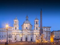 Four Rivers fountain and church Sant'Agnese Stock Image
