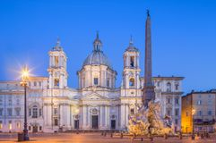 Four Rivers fountain and church Sant'Agnese Stock Photos