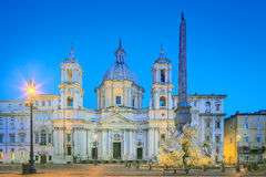 Four Rivers fountain and church Sant'Agnese Royalty Free Stock Image