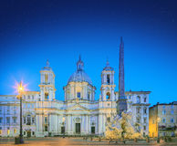 Four Rivers fountain and church Sant'Agnese Royalty Free Stock Images