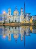 Four Rivers fountain and church Sant'Agnese Royalty Free Stock Photos