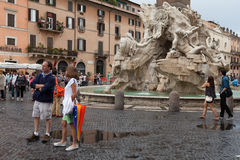 Four Rivers Fountain Navona Square Royalty Free Stock Photography