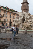 Four Rivers Fountain Rome Stock Image