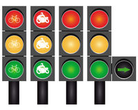 Four road traffic lights Royalty Free Stock Image