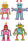 Four robots. Four colorful cartoon toy robots stock illustration