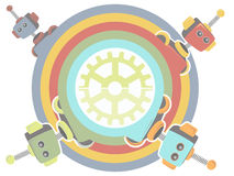 Four Robots inside rainbow circle gear at center Royalty Free Stock Photography