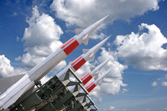 Four rockets. Of a surface-to-air missile system are aimed in the sky Stock Photography