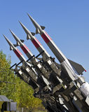 Four rockets of a surface-to-air missile system. Are aimed in the sky Royalty Free Stock Photography