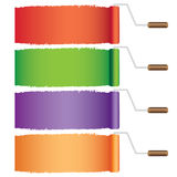 Four rollers with paint. Stock Photography