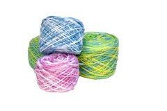 Four Rolls of Multi-Colored Crochet Cotton Stock Photo