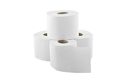 Four rolls of toilet paper isolated on white Stock Image