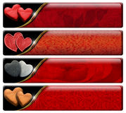 Four Romantic Headers with clipping path Stock Images